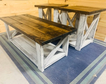 Farmhouse Living Room Set, End Tables Set and Coffee Table with Distressed White Base and Dark Walnut Top, Rustic Living Room Furniture X