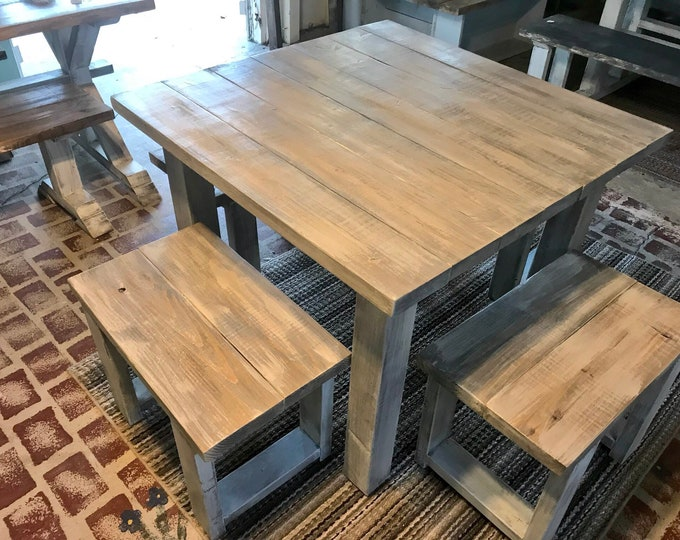 Square Farmhouse Table, Rustic Farmhouse Table, Dining Set with Stools, Table with Small Benches, White Wash With Glossy Top