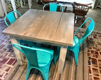 Square Farmhouse Table, Rustic Farmhouse Table, Dining Set with Aqua Metal Chairs, Table with Small Benches, Gray Top White Distressed Base