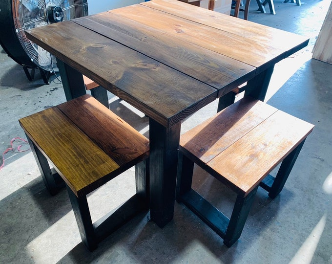 Square Farmhouse Table, Rustic Farmhouse Table, Dining Set with Stools, Table with Short Benches, Provincial Brown Top and Black Base