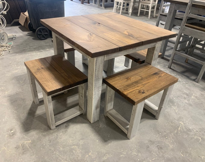 Square Farmhouse Table, Rustic Farmhouse Table, Dining Set with Stools, Table with Short Benches, Provincial Brown Top Gray White Wash Base