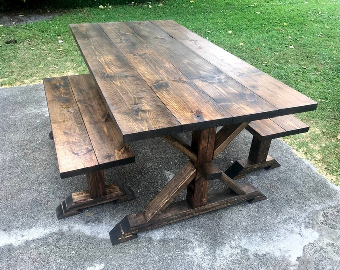 Rustic Pedestal Farmhouse Table With Benches Dark Walnut Brown with Dining Set Walnut Table Set