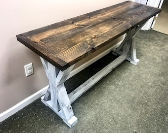 Rustic Console Table, Farmhouse Pedestal Entryway Table with Dark Walnut Top and Distressed White Base, Handmade Buffet