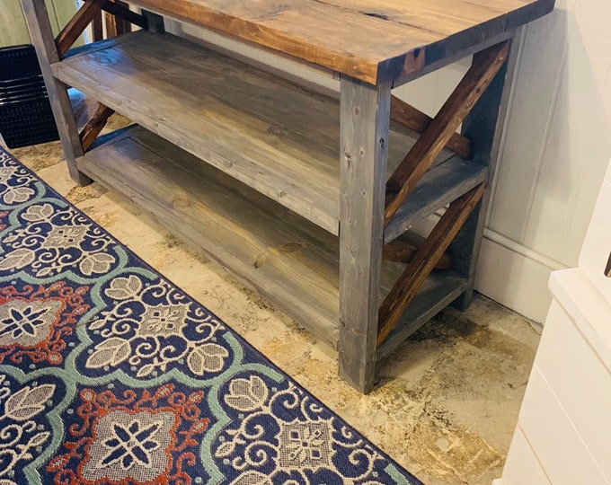Rustic Wooden Buffet Table, Rustic Console Table, Farmhouse Buffet Table, Gray Base with Provincial Brown Top