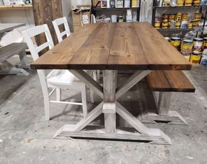Rustic Pedestal Farmhouse Table With White Chairs and a Bench Provincial Brown with White Distressed Base Dining Set