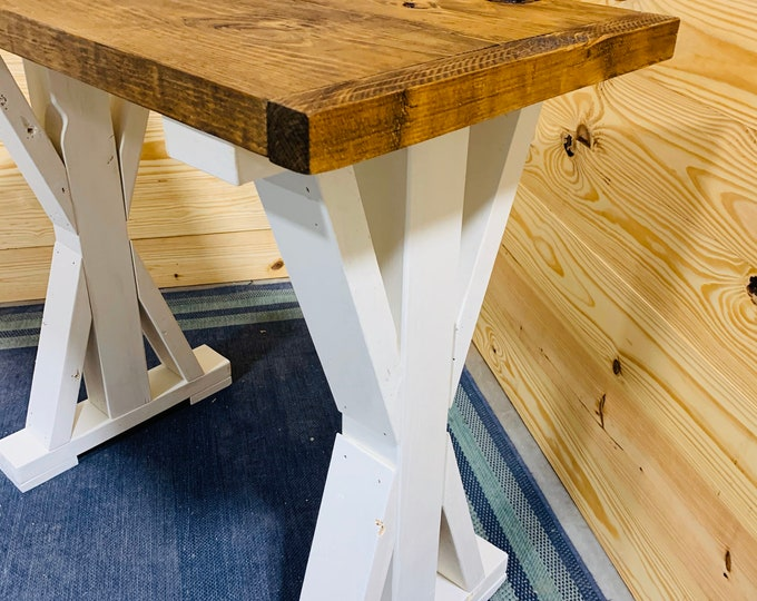 Small Rustic Console Table, Farmhouse Pedestal Entryway Table with Provincial Brown Top and White Base, Handmade Wood Buffet