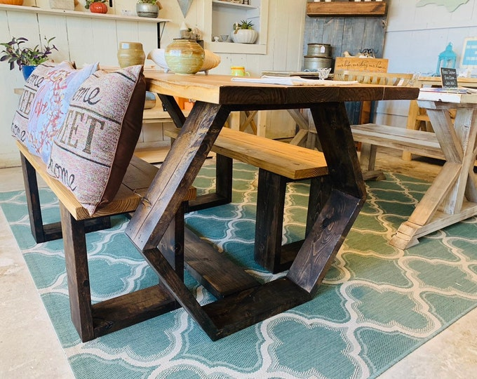 Modern Hexagon Rustic Farmhouse Table Set, Geometric Dining Furniture with Benches, Dark Walnut Base and Light Walnut Top, Wooden Table