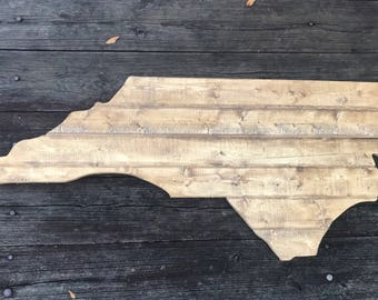 Large North Carolina Cutout Sign with Rustic Look NC Provincial Brown Stain Wall Art and NC Wall Decor