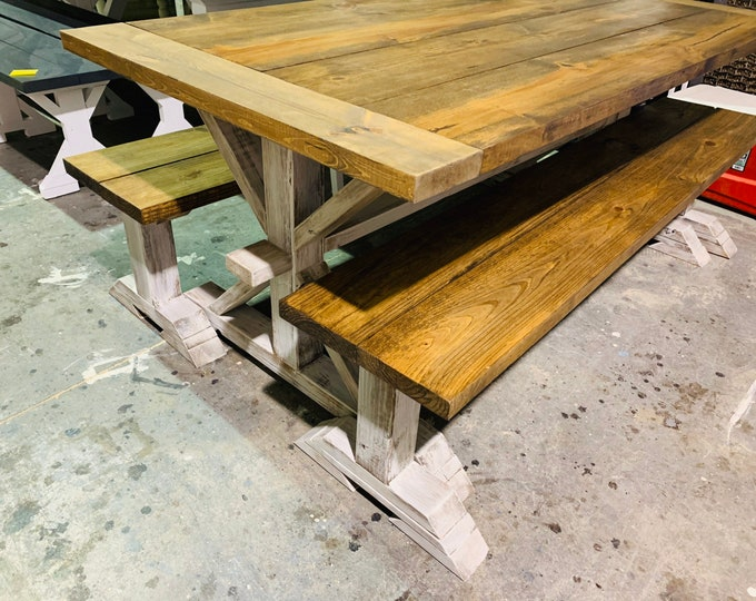 Rustic Pedestal Farmhouse Table With Long Benches and Breadboards Provincial Brown with White Distressed Base Dining Set