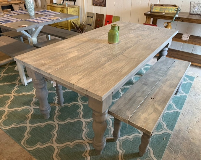Rustic Farmhouse Table Set with Turned Chunky Legs, Includes two Benches, Gray White Wash Top and Distressed Gray Base Dining Set