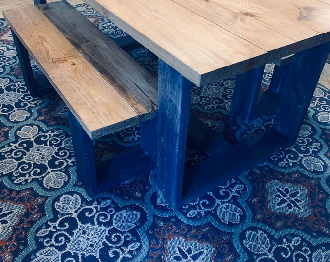 Modern Farmhouse Table Set with Benches, Provincial Brown Top with Blue Distressed Base, Wooden Rustic Dining Set, Kitchen Table