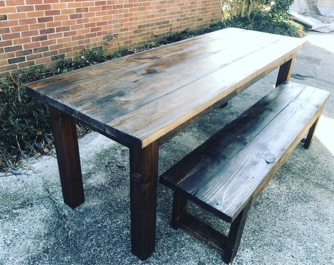 Rustic Farmhouse Table Set, Farmhouse Table with Bench, 7ft Farmhouse Table, Espresso Dining Set, Handmade Table and Bench