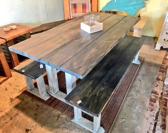 Rustic Pedestal Farmhouse Table Set With Long Benches Charcoal  Gray with White Distressed Base Dining Set