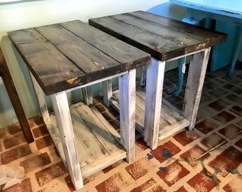 Rustic Handmade Long End Tables Set with Shelve, Distressed White Base with Dark Walnut Top Pair of Farmhouse Side Tables, Wooden Tables