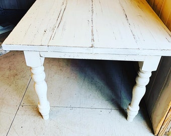 7ft Rustic Farmhouse Table with Turned Legs, White Distressed Top and  Base, Wooden Dining Table, Kitchen Table