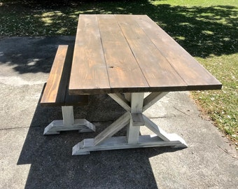 Rustic Pedestal Farmhouse Table With Bench Brownish Gray Top with White Distressed Base Dining Set Handmade Trestle Style Farmhouse Table