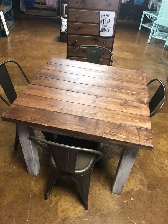 Square Farmhouse Table With Metal Chairs Rustic Farmhouse ...