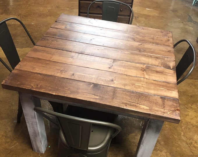 Square Farmhouse Table With Metal Chairs, Rustic Farmhouse Table Set, Light Walnut Brown Top Distressed White Base, Wooden Square Dining Set