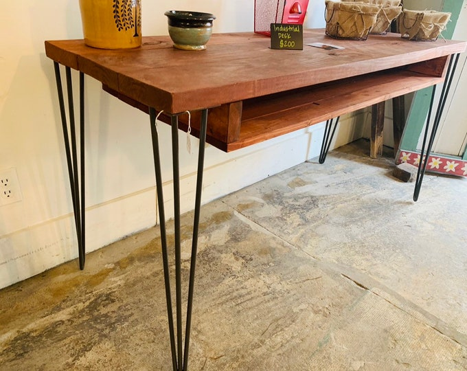 Industrial Style Desk with Hairpin Metal Legs, and Gun Stock Wooden Top, Desk with Storage, Handmade Office Furniture, Rustic Feel