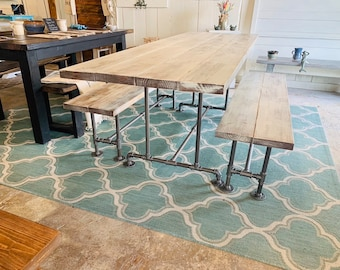 Industrial Style Farmhouse Table with Benches Black Iron Pipe Base and Legs Wooden White Distressed Finish Top Industrial Rustic Dining Set