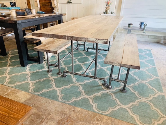 Phenomenal Industrial Style Farmhouse Table With Benches Black Iron Pipe Base And Legs Wooden White Distressed Finish Top Industrial Rustic Dining Set Theyellowbook Wood Chair Design Ideas Theyellowbookinfo
