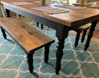 Rustic Farmhouse Table Set with Turned Legs,Two Benches, Provincial Brown Top and  Black Painted Base Dining Set, Modern Design