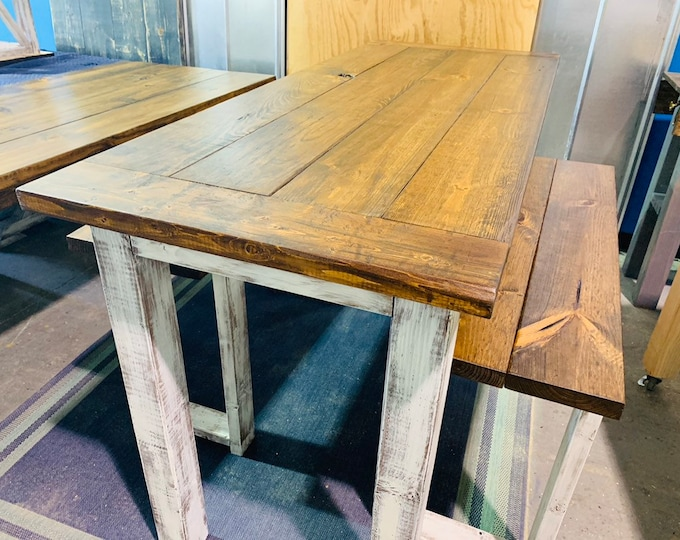 Rustic Wooden Farmhouse Pub Table Set Breadboard Ends Provincial Brown Top and White Distressed Base Includes Two Benches, Counter Height