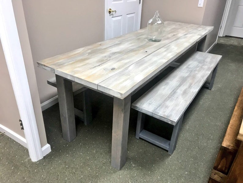 Etonnant Rustic Farmhouse 8ft Table Set With Two Long Matching Benches, White Wash  Top With Gray Base, Long Dining Set, Wooden Banquet Table