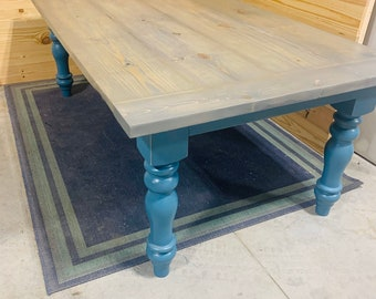 8ft Wide Rustic Farmhouse Table with Chunky Turned Legs, Dark Walnut Brown Top and Teal Distressed Base, Wooden Dining Table, Kitchen Table
