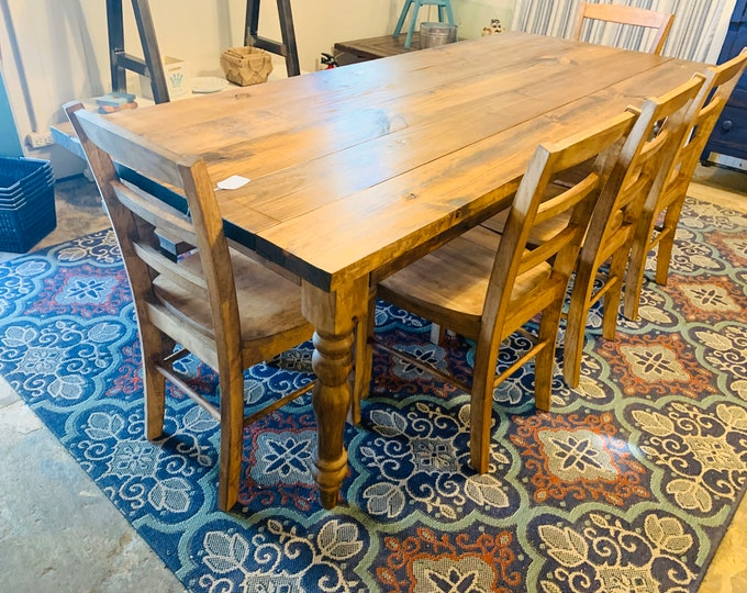 Rustic Farmhouse Table with Turned Legs, Bench and Chairs, Early American Brown Stain Finish, Dining Set with Wooden Ladder Back Chairs