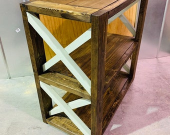 SmallRustic Farmhouse Style Bookshelf, Dark Walnut Stain with Light Green X Accents,  Wooden Shelving Bookcase, Small Storage.