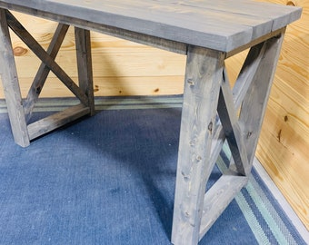 Rustic Farmhouse Desk with Gray Stained Finish and X Accents, Wooden Handmade Office Furniture or Console Piece Small Writing Desk