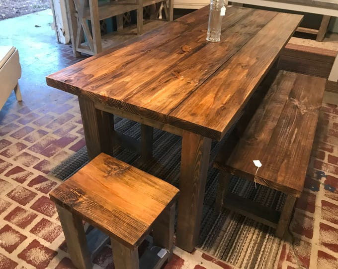 Rustic Wooden Farmhouse Table Set with Provincial Brown Top and Classic Gray Base Includes Two Benches and End Stools