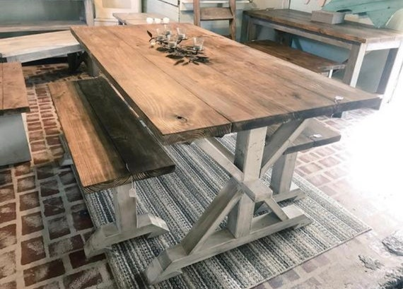 Swell Rustic Pedestal Farmhouse Table With Benches Provincial Brown With White Distressed Base Dining Set Machost Co Dining Chair Design Ideas Machostcouk