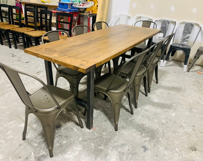 Industrial Farmhouse Table, Rustic Steel Legs, Provincial Brown Wooden Top, 7ft Dining Set, Industrail DesignBreadboards, Metal Chair Option