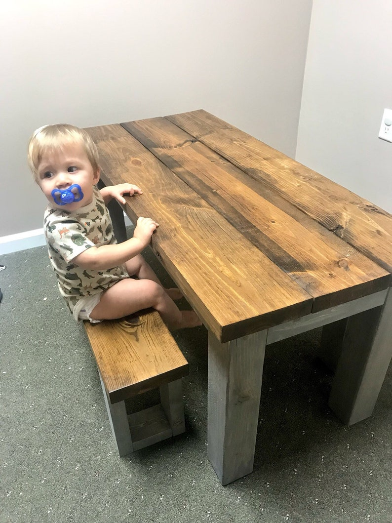 Brilliant Kids Rustic Farmhouse Table Set With Benches Childrens Table Dining Set Provincial Brown Top With Gray Base Kids Furniture Creativecarmelina Interior Chair Design Creativecarmelinacom