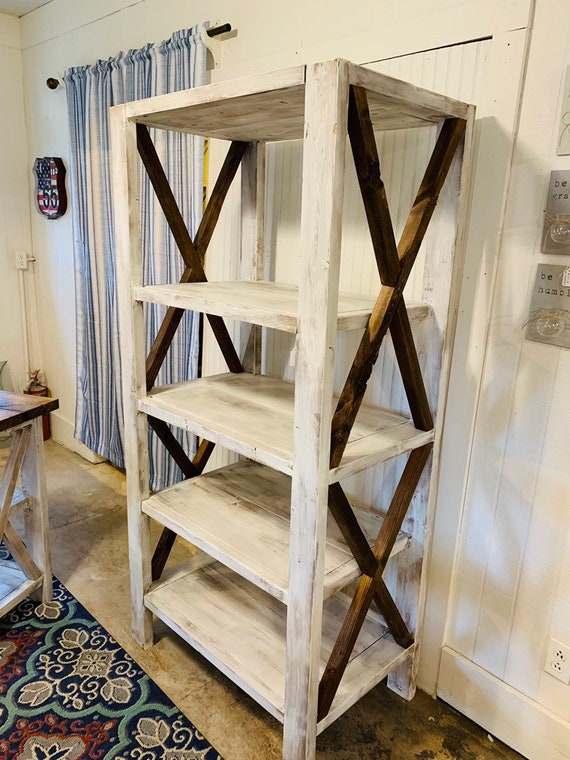 Rustic Farmhouse Style Bookshelf with a Distressed Antique Finish and  Provincial Brown X Accents, Wooden Shelving Bookcase