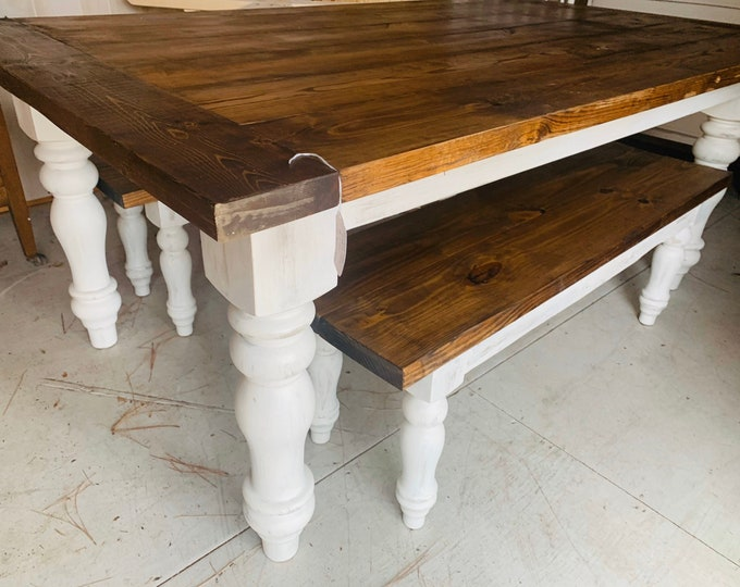 Rustic Farmhouse Table Set with Chunky Turned Legs and Breadboards , Two Benches, Provincial Brown Top and White Distressed Base