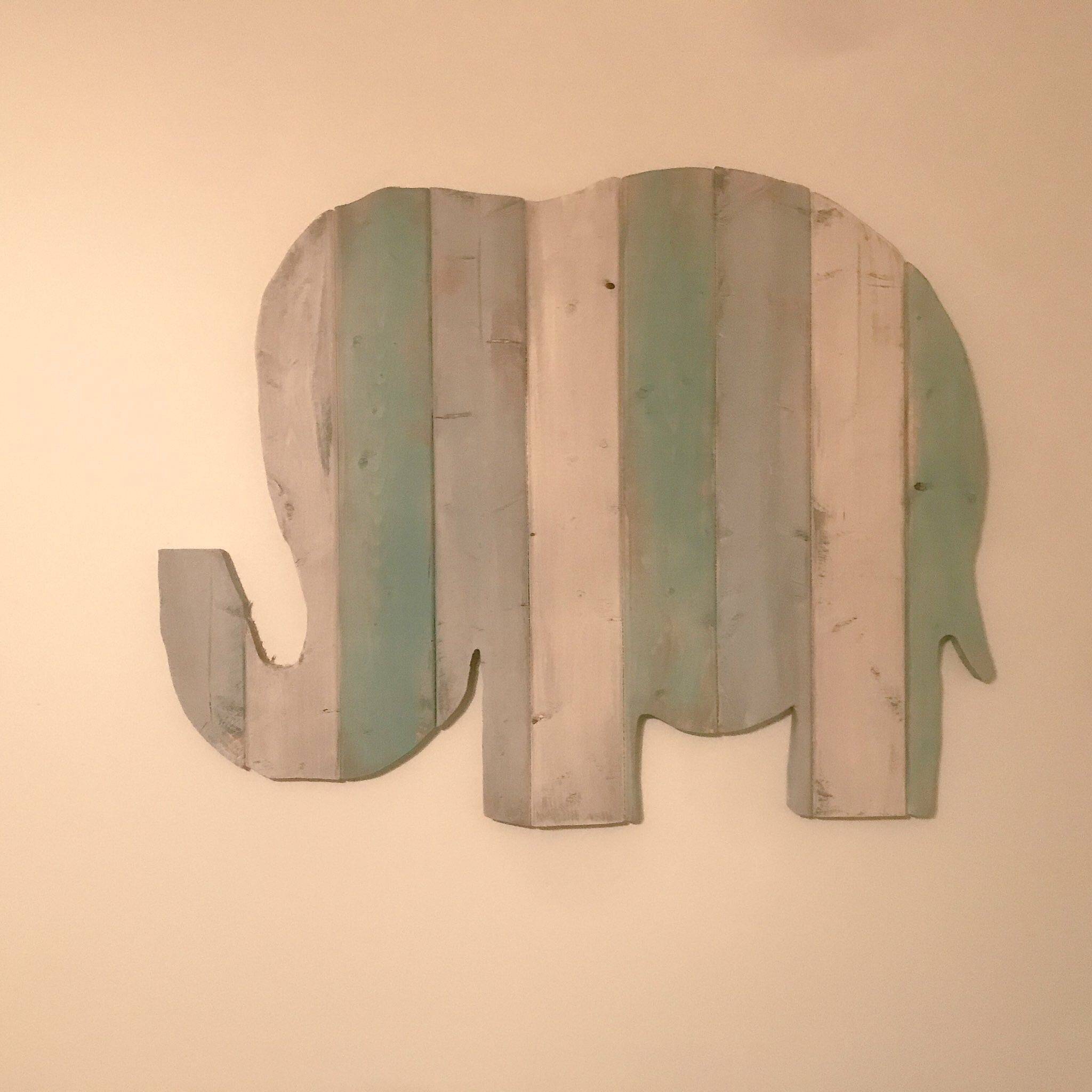 Large Wooden Rustic Elephant Distressed Sign Nursery Wall Decor Or