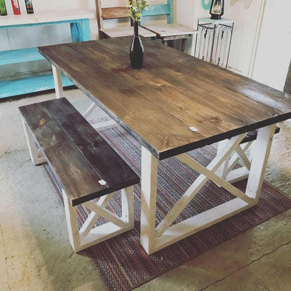 Rustic Farmhouse Table With Benches With Dark Walnut Top And Etsy - Farmhouse table with white base