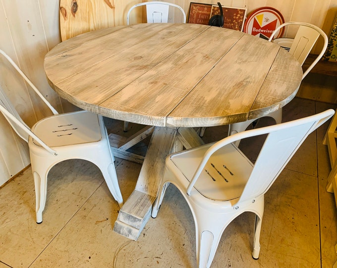 Round Rustic Farmhouse Table with chairs, Single Pedestal  Style Base, Gray White Wash Top with Distressed White Base, Small Wooden Dining