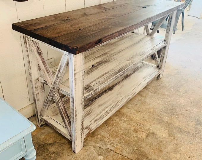 Rustic Wooden Buffet Table, Rustic Console Table, Farmhouse Buffet Table, Distressed White Base  and Red Mahogany Top