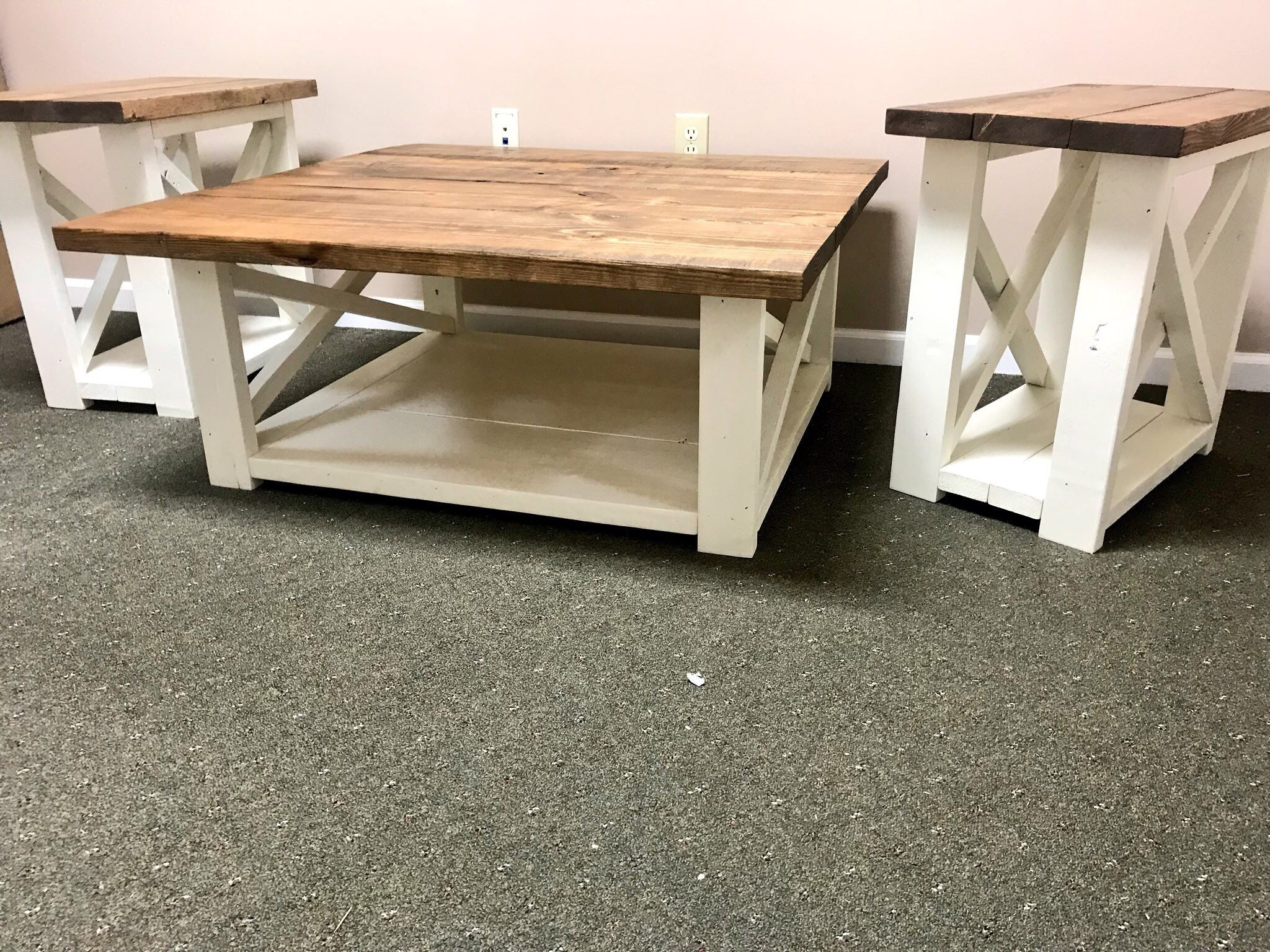 Rustic Living Room Set, Large Farmhouse Coffee Table With Set of ...