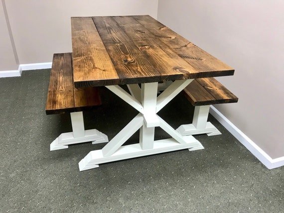 Surprising Rustic Pedestal Farmhouse Table With Benches Provincial Brown With Solid White Base Dining Set Machost Co Dining Chair Design Ideas Machostcouk