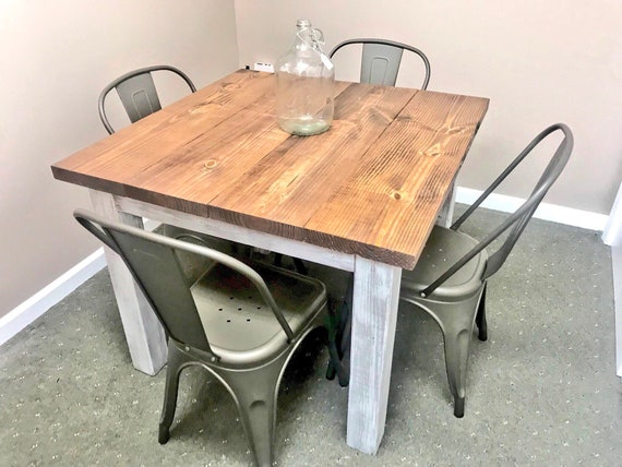 Square Farmhouse Table Rustic Small Farmhouse Table Dining Etsy