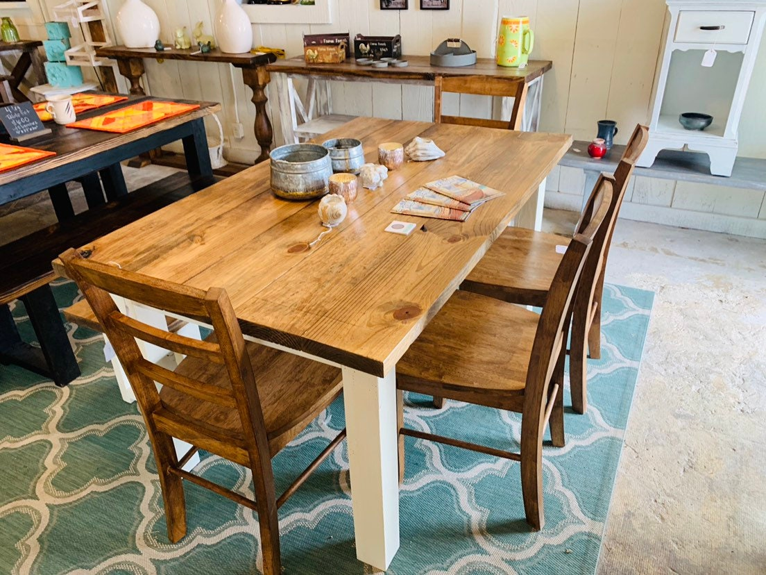 Rustic Farmhouse Table Set with Bench and Chairs, White Base ...