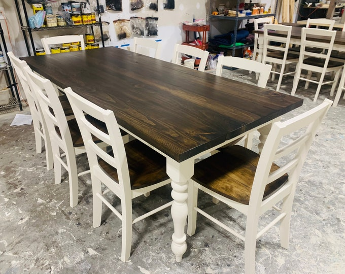 7ft Rustic Farmhouse Table with Chairs and Turned Legs, Dark Walnut Top and Antique White Base, Wooden Dining Table Seamless Top