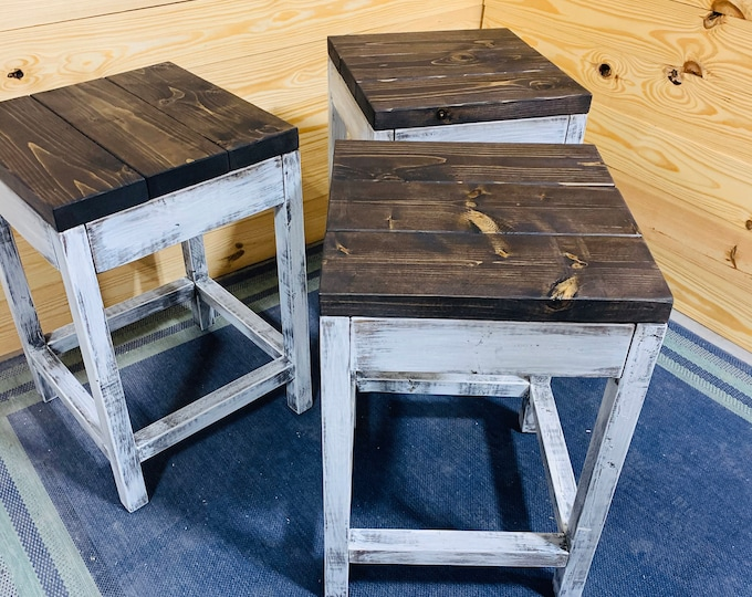 Rustic Farmhouse Counter Height Stools, Espresso Brown Top and Distressed White Base, Wooden Bar Stool Set For Kitchen