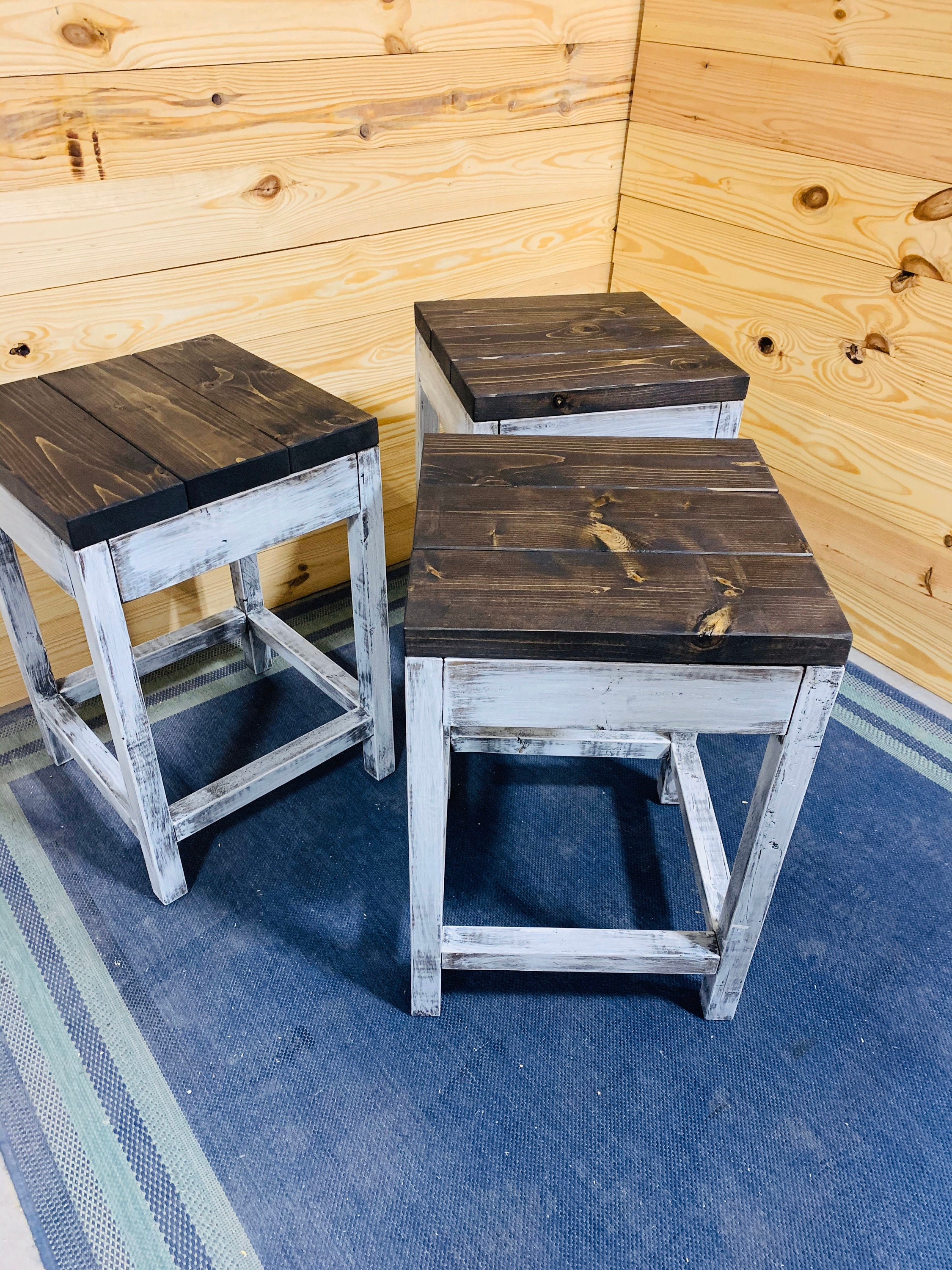 Rustic Farmhouse Counter Height Stools Espresso Brown Top And Distressed White Base Wooden Bar Stool Set For Kitchen