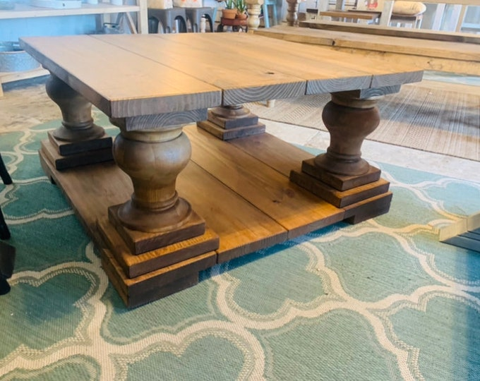 Large Farmhouse Style Coffee Table, Square Table, Early American Brown, Wooden Living Room Set with X Turned Legs